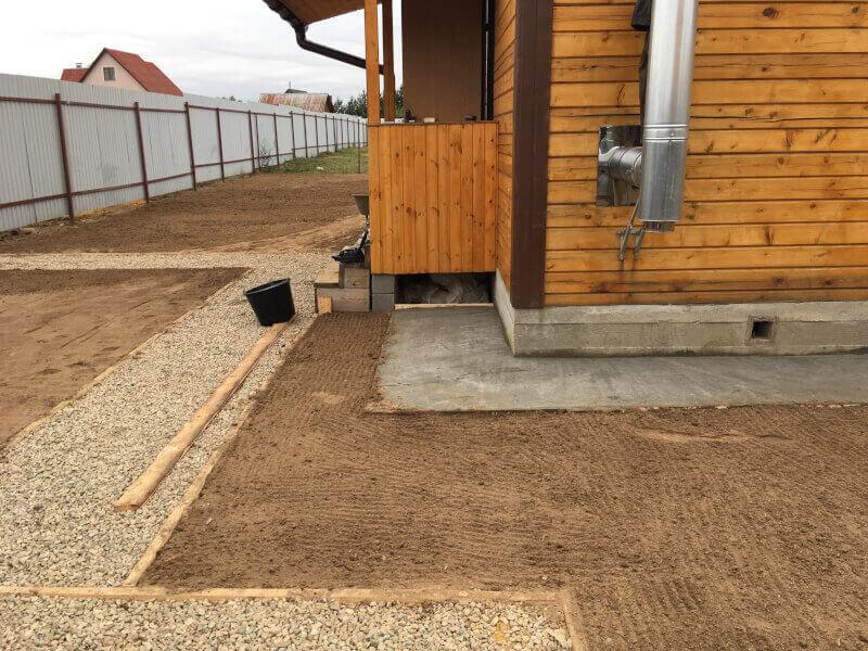 Устройство бетонной отмостки, площадок из щебня и посевного газона в Ногинске