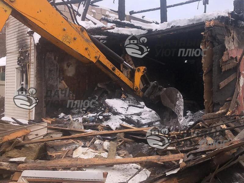 Демонтаж сгоревшего дома